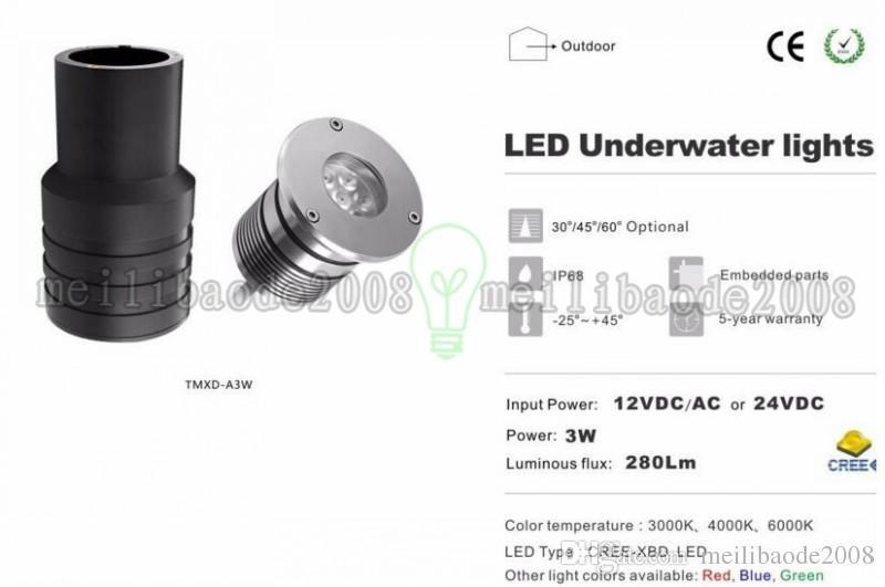 Courtyard Stage Path Led Lights LED Piscine Light IP68 DC12V / 24V 3W LED Piscine lumineuse LED de piscine WW / CW / W / R / G / B Myy
