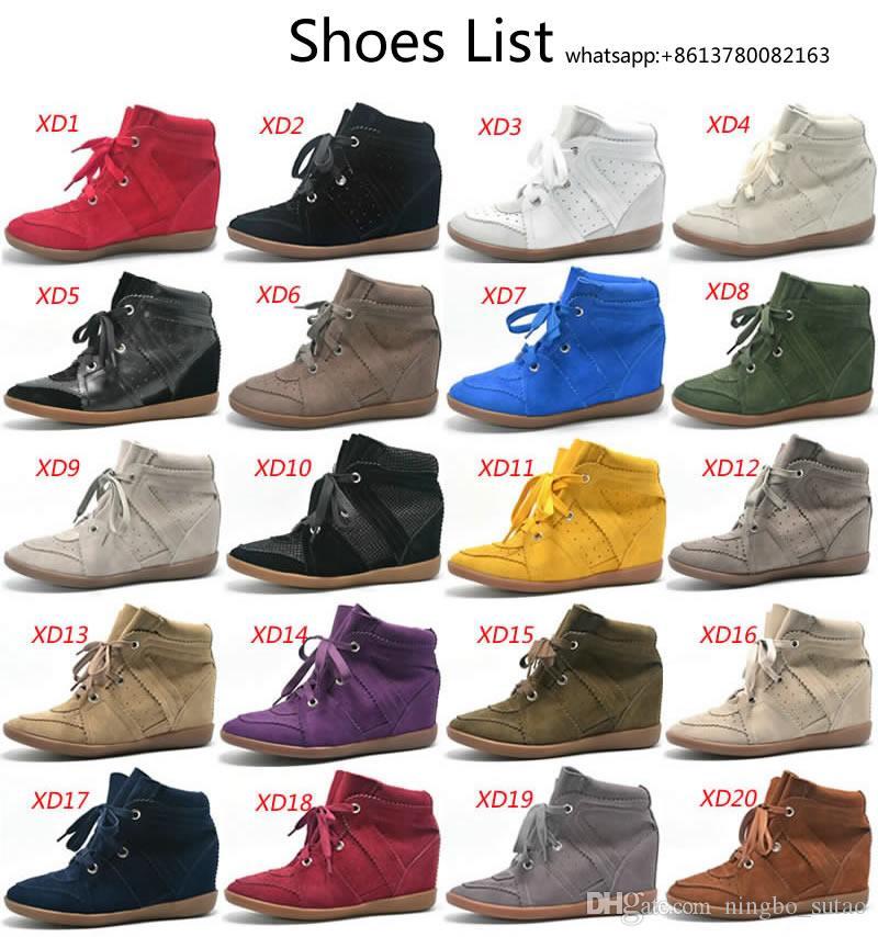 Bobby Fashion Sneakers Damen Stiefel Wedges Schuhe Echtes Leder Höhe Zunehmende 7 cm Stiefeletten Damenschuhe Freizeitschuhe