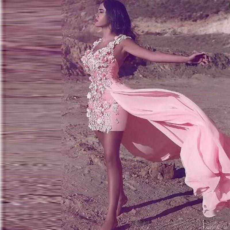 2018 Hot Pink Handmade Flowers Sheath Prom Dresses High Low Chiffon Short Party Dress Low Back Sexy Formal Dresses Evening Wear