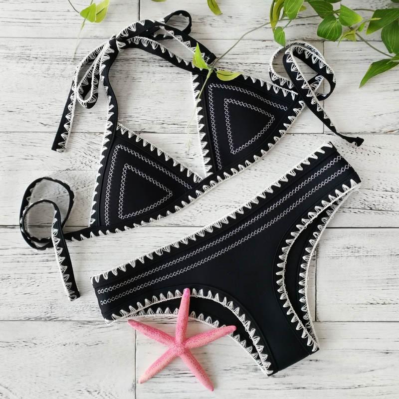 New Crochet Swimwear Women Sexy Neoprene Bikini Set Neoprene Swimsuit Sexy Biquini Bath Suit Push UP