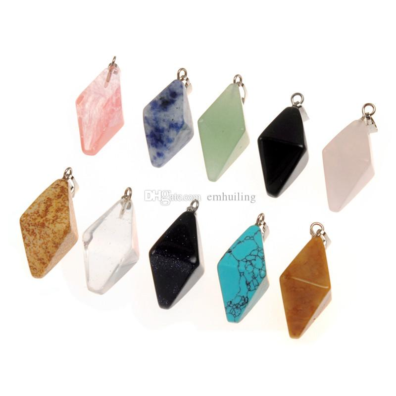 23*14cm Mixed Double Pyramid Prismatic Random Colors Natural Rock Quartz Fengshui Crystal Pendant Hand Polished Healing Device for Necklace