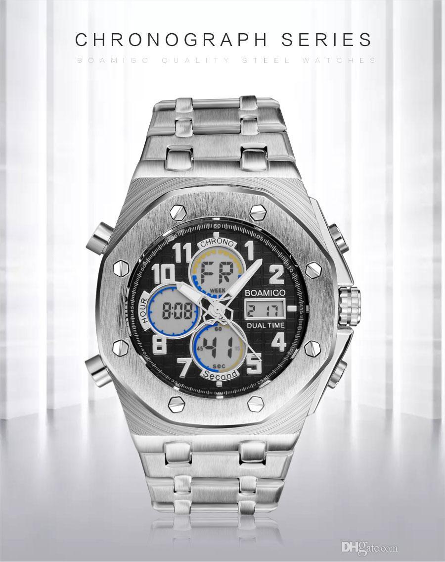 287c6241945 Compre 2018 Nova Moda Dual Display Relógios Homens Analógico Digital  Esporte Relógio De Pulso De Prata De Aço Inoxidável Masculino Relógio De  Quartzo ...