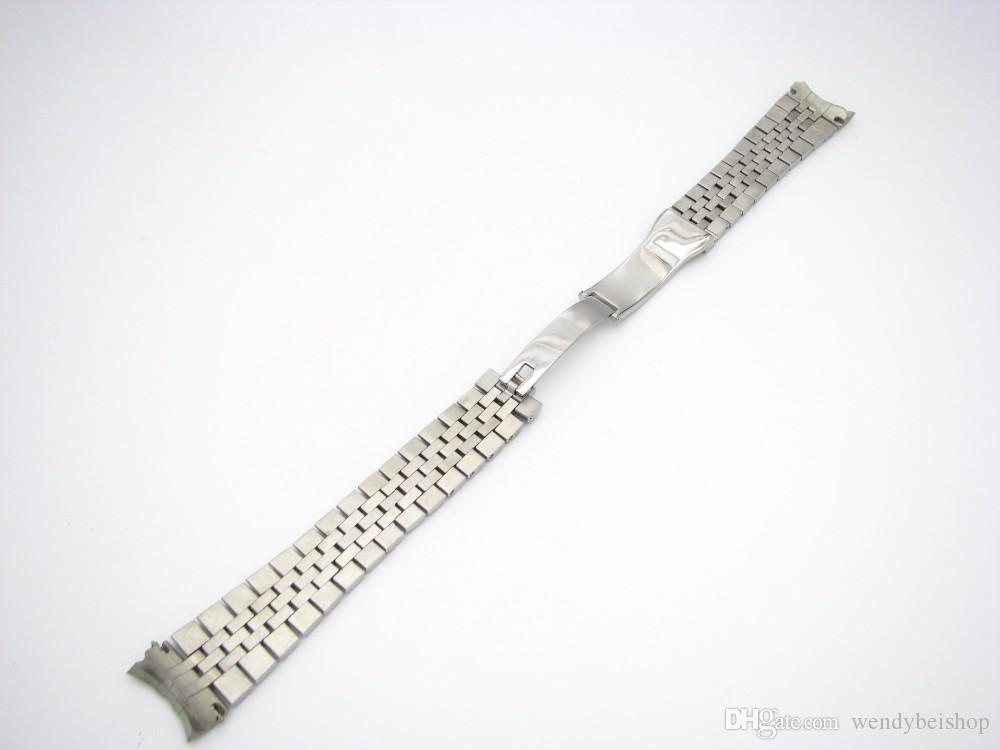 CARLYWET 20mm 316L Stainless Steel Jubilee Silver TwoTone Gold Wrist Watch Band Strap Bracelet Solid Screw Links Curved End