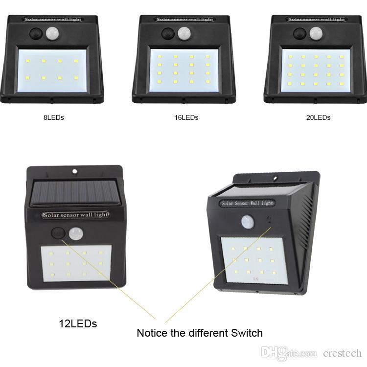 Frío blanco solar LED luz de pared 8les 10les 12leds 16leds 20leds luces al aire libre a prueba de agua interruptor de agujero de aguja operado solar