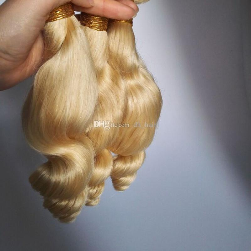 8A Grade Peruvian 613 Blonde Loose Wave Human Hair Weaves Platinum Blonde Virgin Hair Extensions 3 Bundles Dhl Free