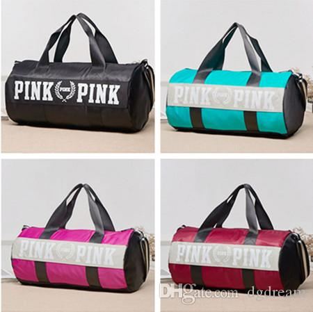 Fashion Women Pink Letter Vs Love Gym Handbags Large Capacity Travel Duffle Striped Waterproof Beach Bag Sports Shoulder For Wheeled Bags
