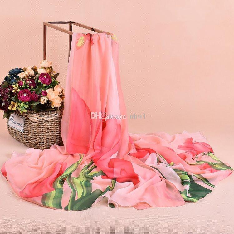 Soft Tulip Printed Chiffon Scarfs Women Infinity Scarf Shawl Neck Scarves Wrap Winter Autumn Warm Muffler 100*180cm