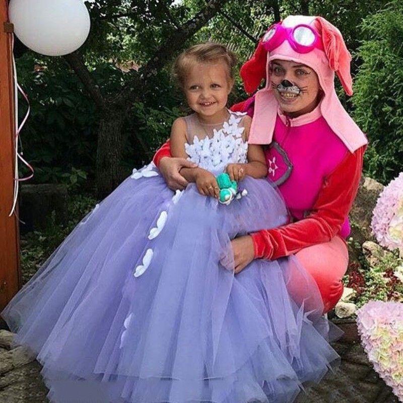 자주색 7 살짜리 공 가운 꽃 파는 소녀 드레스 Tulle 3D 꽃 아플리케 멋쟁이 드레스 버터 플라이 친교 멋진 드레스 복장