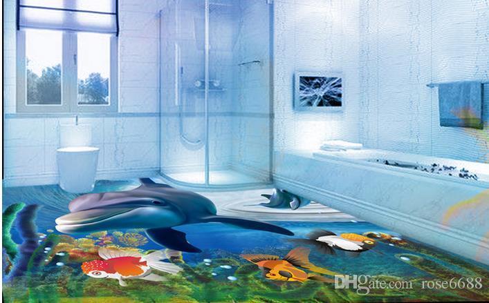 3d Underwater World Dolphin Floor Tile Living Room Waterproof Wallpaper For Bathroom Wall Wallpapers Hd Widescreen High Quality Desktop