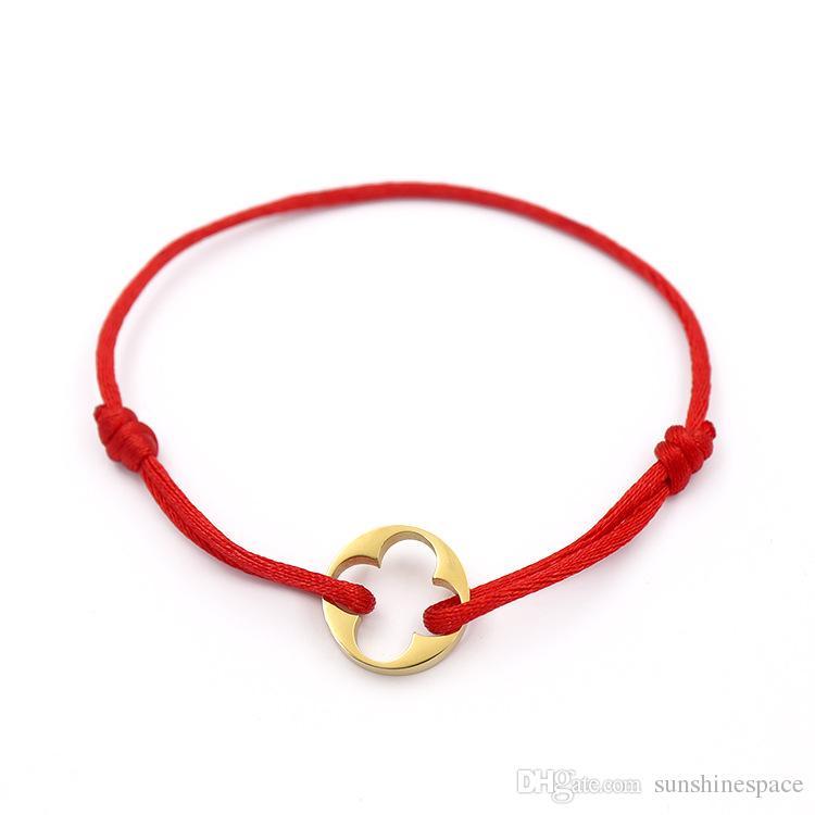 Fashion Brand Women Leaf Clover Bangle Handmade Rope Chain Bracelet Charm Titanium Stainless Steel three circles Carter