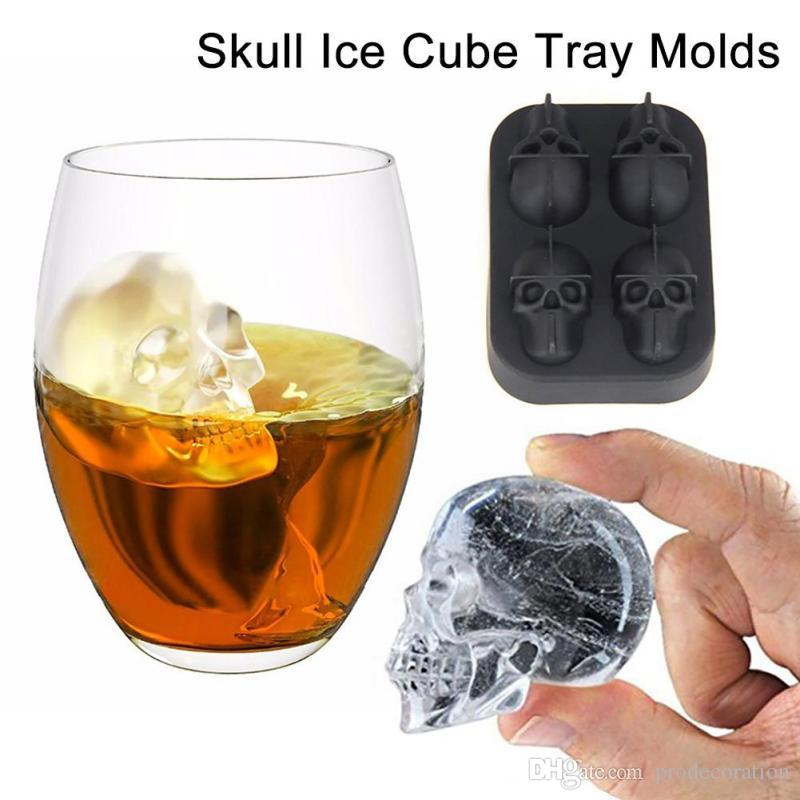 New Fashion Silicone Bones Skull Ice Cube Mold Kitchen Chocolate Tray Silicone Cake Candy Mold Cooking Tools Top Quality