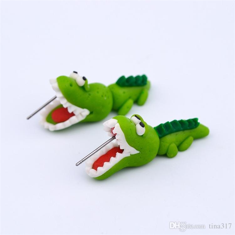 Dames Fille Bande Dessinée Polymère Argile Stud Femmes mignonnes Animal Crocodile Mode Boucles D'oreilles Fille vert Bijoux CC548