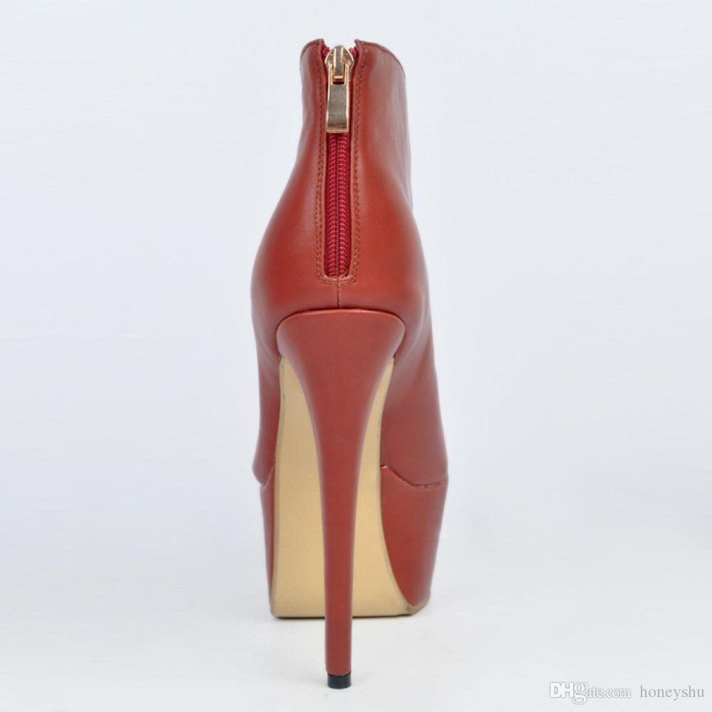 Kolnoo Womens Fashion Handmade Peep-toe Ankle Boots Zipper High Heel Platform Party Prom Shoes Brown XD062