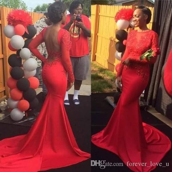 2017 Long Sleeve Evening Gowns Sheer Neck Lace Appliques Backless African Prom Dresses Mermaid Evening Gown in Red Sweep Train