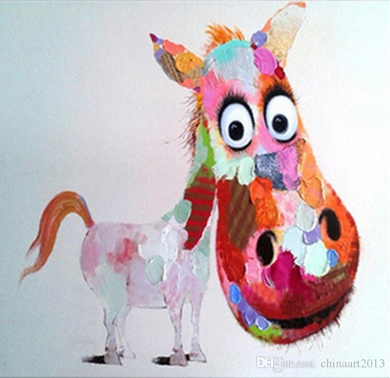 No Frame Modern Art Pittura ad olio Rosa Logy Asino su tela Decorazione della parete dipinta a mano la camera dei bambini
