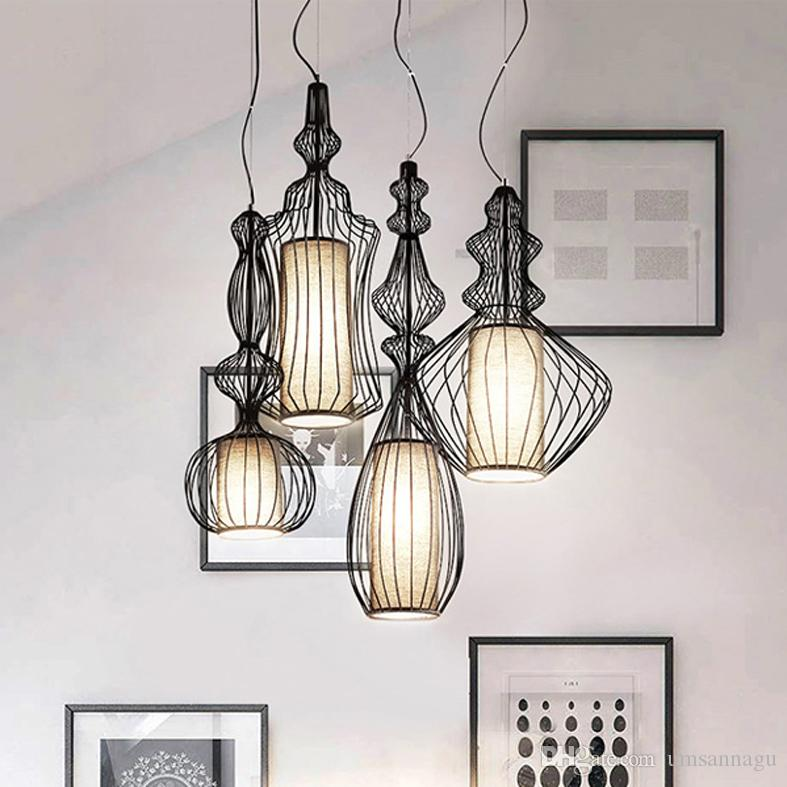 Best of Led Modern Pendant Lamps Big Nobles Hanging Pendant Lights Fixture White Black Bird Cage Restaurant Cafes Pub Home Indoor Lighting Droplight Kitchen Ceiling Ideas - New modern black pendant light Style