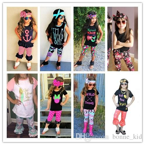 3c2a3dce0dc 2019 9 Designs Fashion Girl Summer Clothes Kid Cotton Clothing Top+Pants  Bell Bottoms Headband Dot Mermaid Cute Bohemia Girls Outfits Baby Clothe  From ...