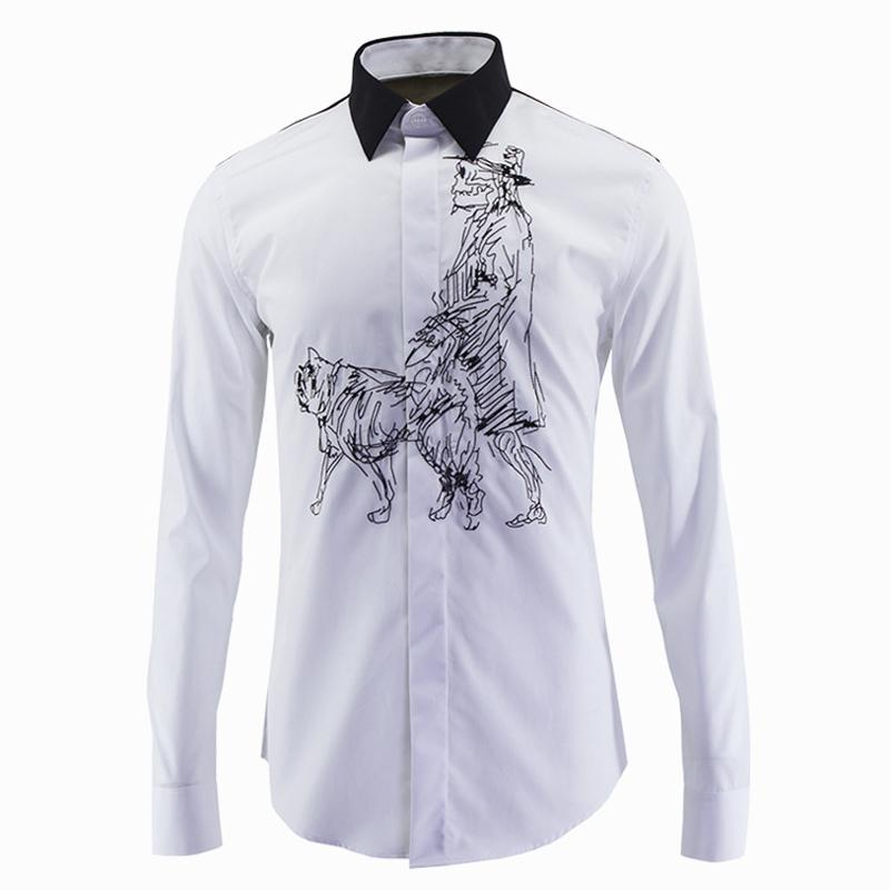 2018 Wholesale Luxury Men Shirt Skull Dog Embroidery Mens Dress Shirts  Brand Fashion 2016 Long Sleeve Shirt Men Slim Fit Cotton Chemise Homme From  Beimu, ...