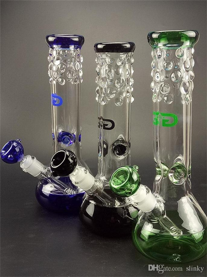 "Blue Black Green glass beaker bong with 7mm thickness percolators Fashion Joint 18.8mm bongs water bongs with bowls 11.8"" Tall"