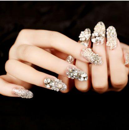 Glittering 3d False Eyelashes Bride Nails BEAUTIFUL Pre Design Fake Nail Tips Charming Decoration Diamond Full Cover Finger HOT Tip