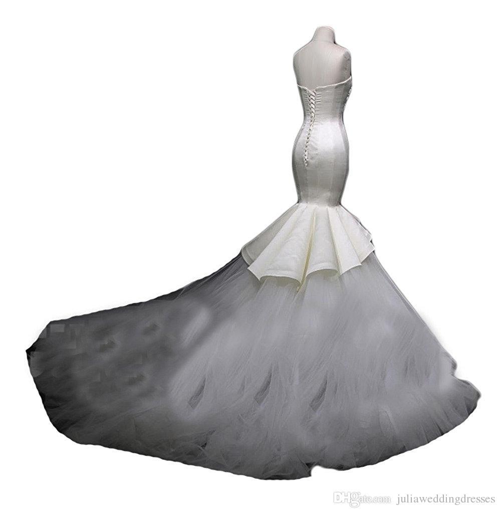 Новый элегантный сатин 2017 кружева русалка свадебные платья с аппликациями с бисером с бисером с плечами плюс размер свадебные платья QC507