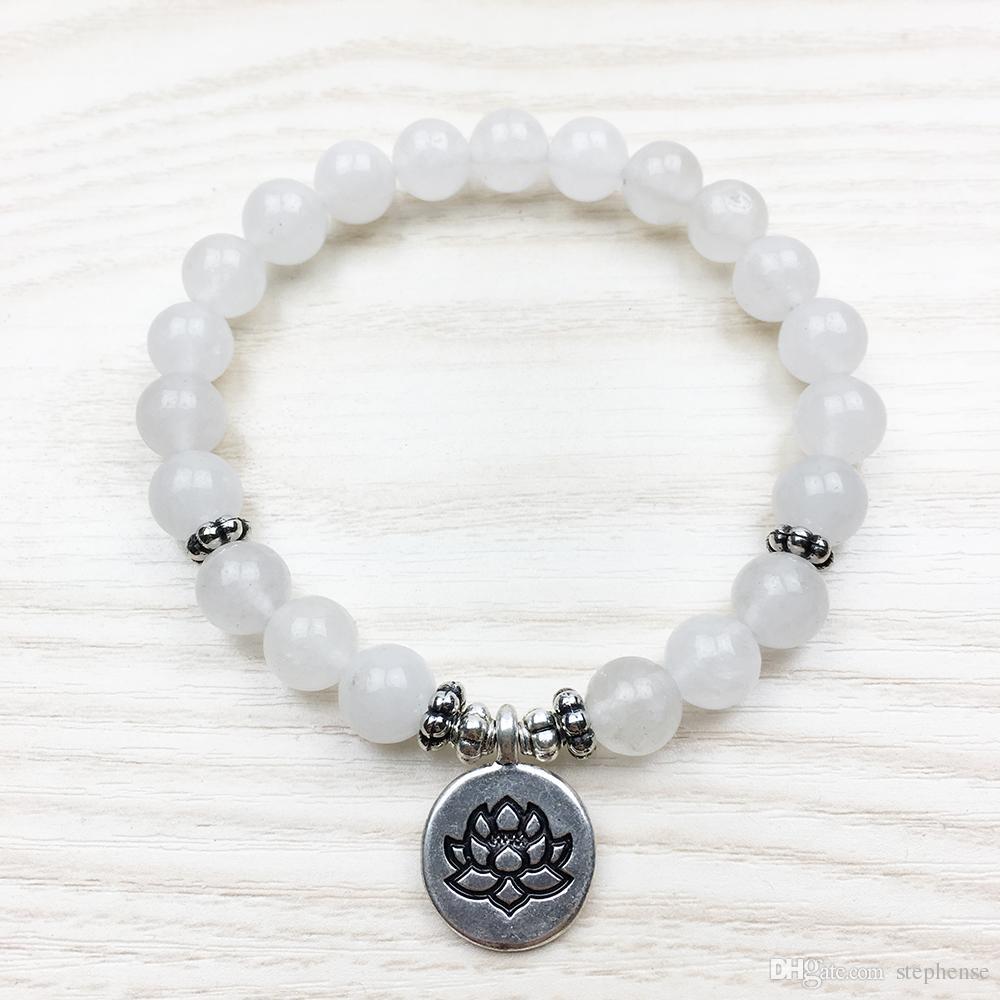 SN1012 حار بيع المرأة سوار الأبيض لوتس سوار تهدئة العقيق مجوهرات الشفاء القصد مالا سوار الأزياء والمجوهرات بالجملة