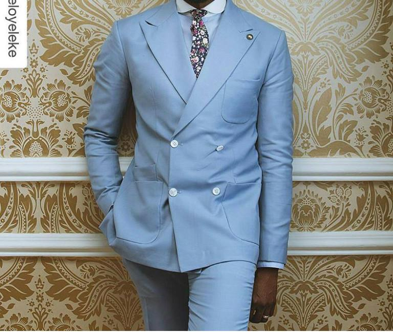 2018 Wholesale Light Blue Double Breasted Groom Tuxedos Mens Wedding ...