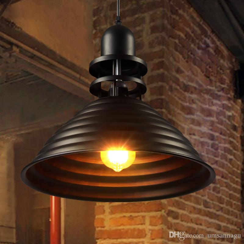 Retro Industrial Pendant Lights Fixture Black Metal Lamps European Vintage Cafes Pub Bar Hanging Lamp Home Indoor Lighting Light