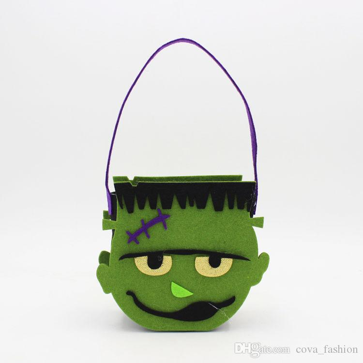 Halloween citrouille bonbons sac truc traiter mignon sourire panier visage enfants cadeau tenir sac pochette sac fourre-tout non-tissé accessoires décoration