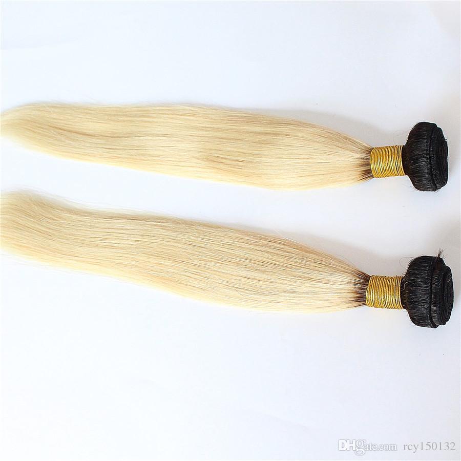 T1B / 613 ombre Cabelo Em Linha Reta Brasileira Virgem Do Cabelo Weave Bundles Extensões de Cabelo Humano 200g