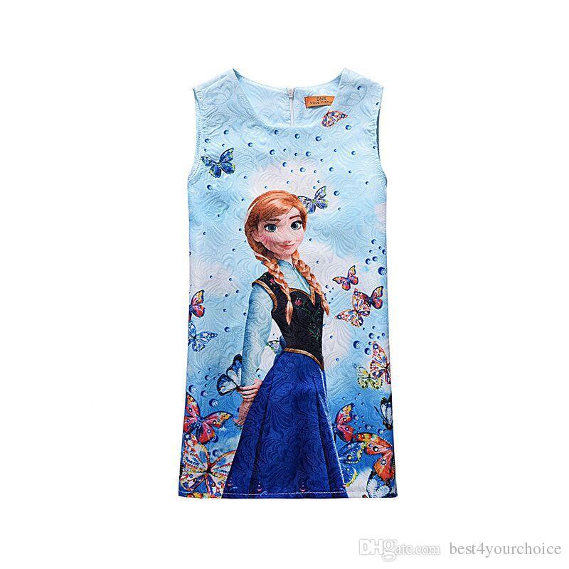 2017 Summer Baby Girl Dress For Girls Princess Vestidos Vest Dress Butterfly Print Party Dress Kids Costume Children Clothing