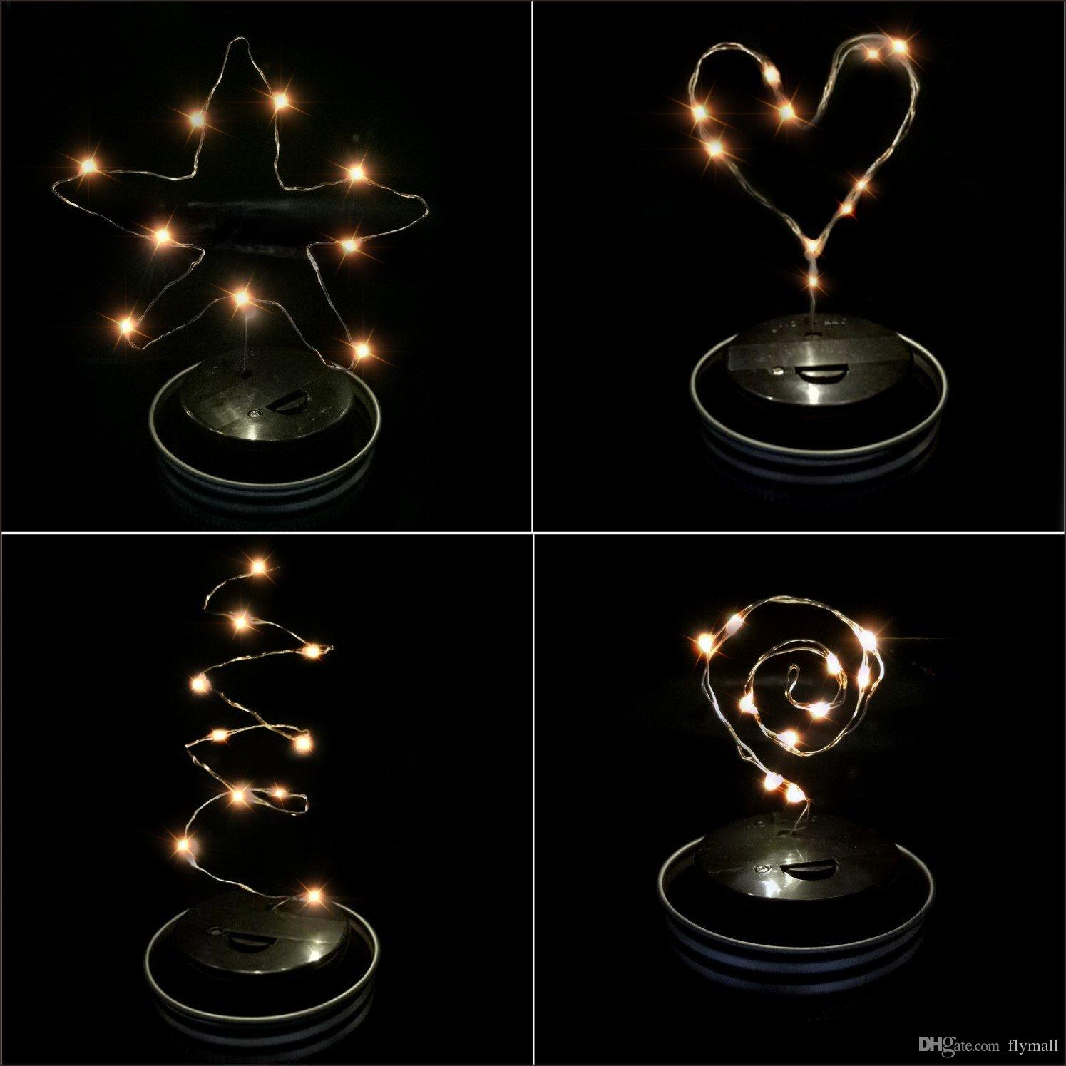 Solar Powered LED Mason Jars Light Up Lid 10 LED String Fairy Star Lights Screw on Silver Lids for Mason Glass Jars Christmas Garden Lights