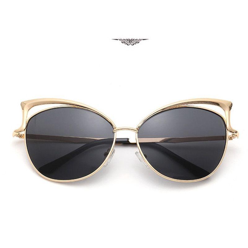 4a2c229f2a50b Compre Óculos De Sol Feminino Óculos De Moda De Olho De Gato Europeu Óculos  De Moldura De Metal Lady Outdoor Brand Óculos De Sol Free Dhl 125 De ...
