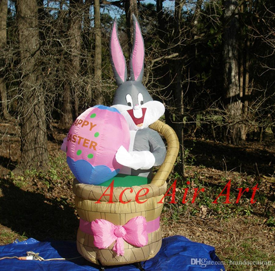 New design for easter decoration inflatable happy easter rabbit,rabbit sitting in the basket