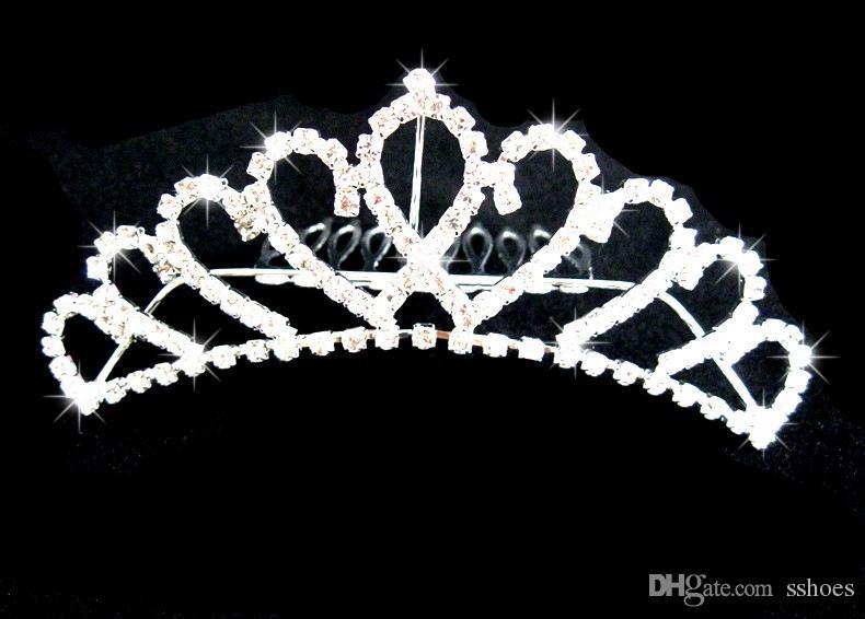 신부 웨딩 Tiaras 클래식 멋진 멋진 빗 공주 신부 보석 라인 석 크리스탈 Tiaras 크라운 헤어 액세서리