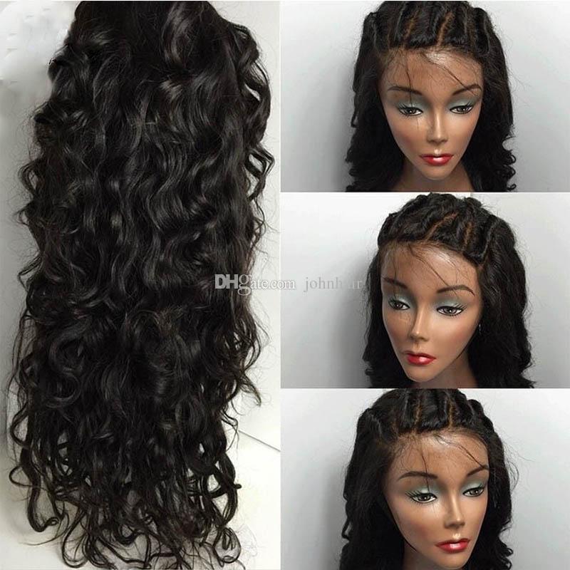 Sınıf 8A Su Dalga Tam Dantel Peruk / Dantel Ön Peruk Bebek Saç 100% Siyah Kadınlar Için Brezilyalı İşlenmemiş Virgin İnsan Saç Peruk