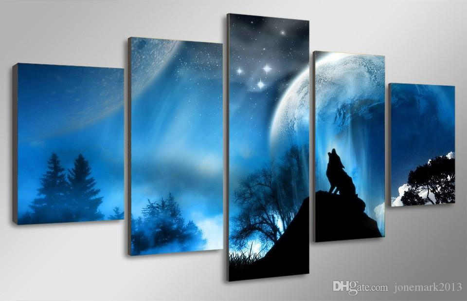 Framed HD Printed Night Wolf Planet Picture Wall Art Canvas Print Room Decor Poster Canvas Pictures Painting