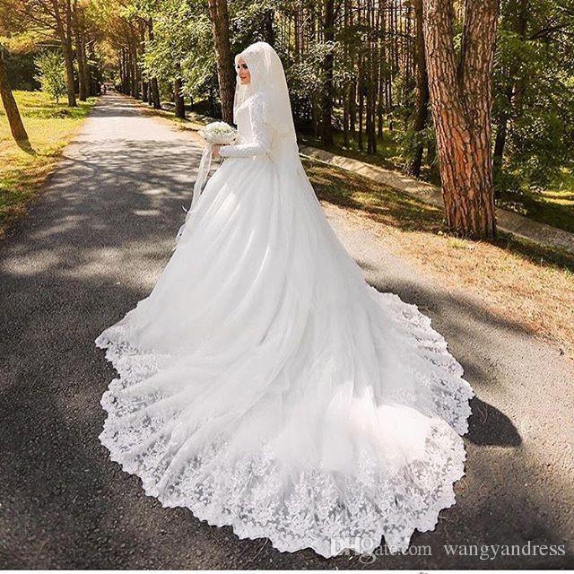 2017 Luxury Arab Muslims Mariage Dress Vestido Robes De Beautiful Long Sleeve Wedding Dress Bridal Gown
