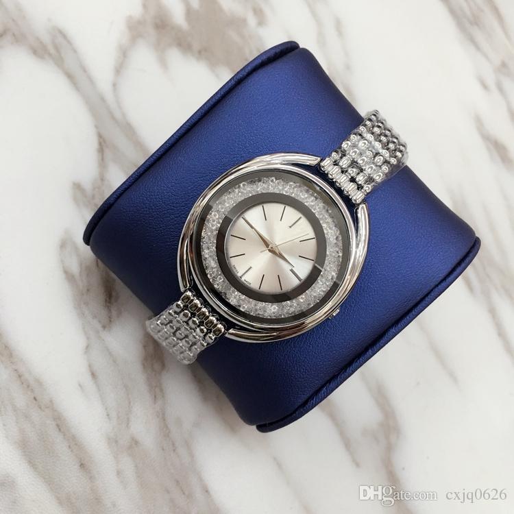 2018 Yeni Moda Stil Kadınlar İzle Full elmas Lady Çelik Zincir kol saati Lüks Kuvars saat Kaliteli eğlence modacı izle
