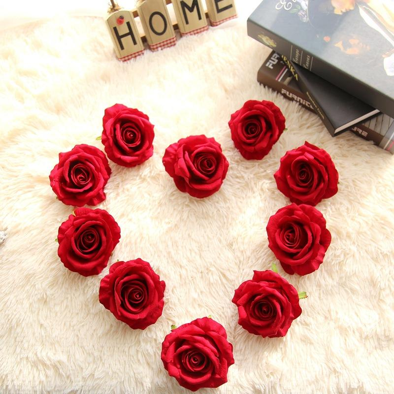 wholesale simulation flowers velvet rose flower head for foreign trade flower wall home decoration wedding fake flowers