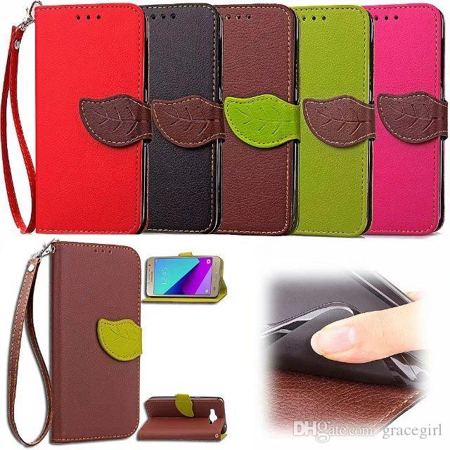 Strap Leaf Wallet Leather Pouch Case For Samsung Galaxy S9 J2 J5 J7 Prime HTC U Play NOKIA 5 Huawei P10 Lite Plus ID Card Stand Phone Cover