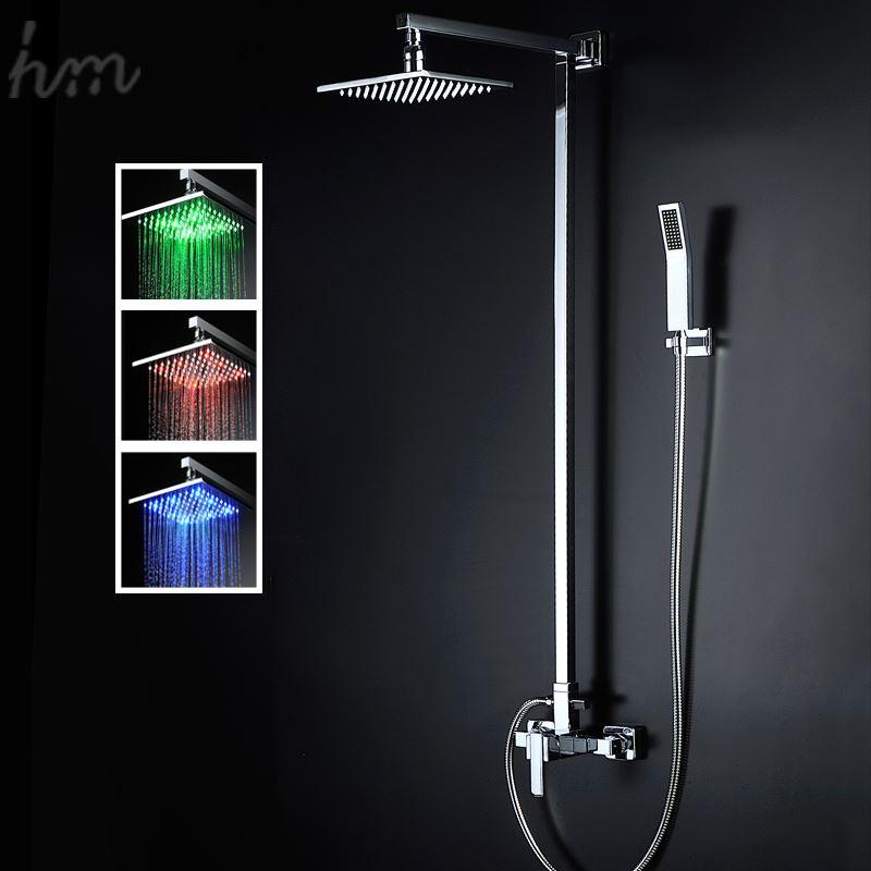 2018 Led Light Shower Head Sets Square 8 Inches Handheld Shower With ...