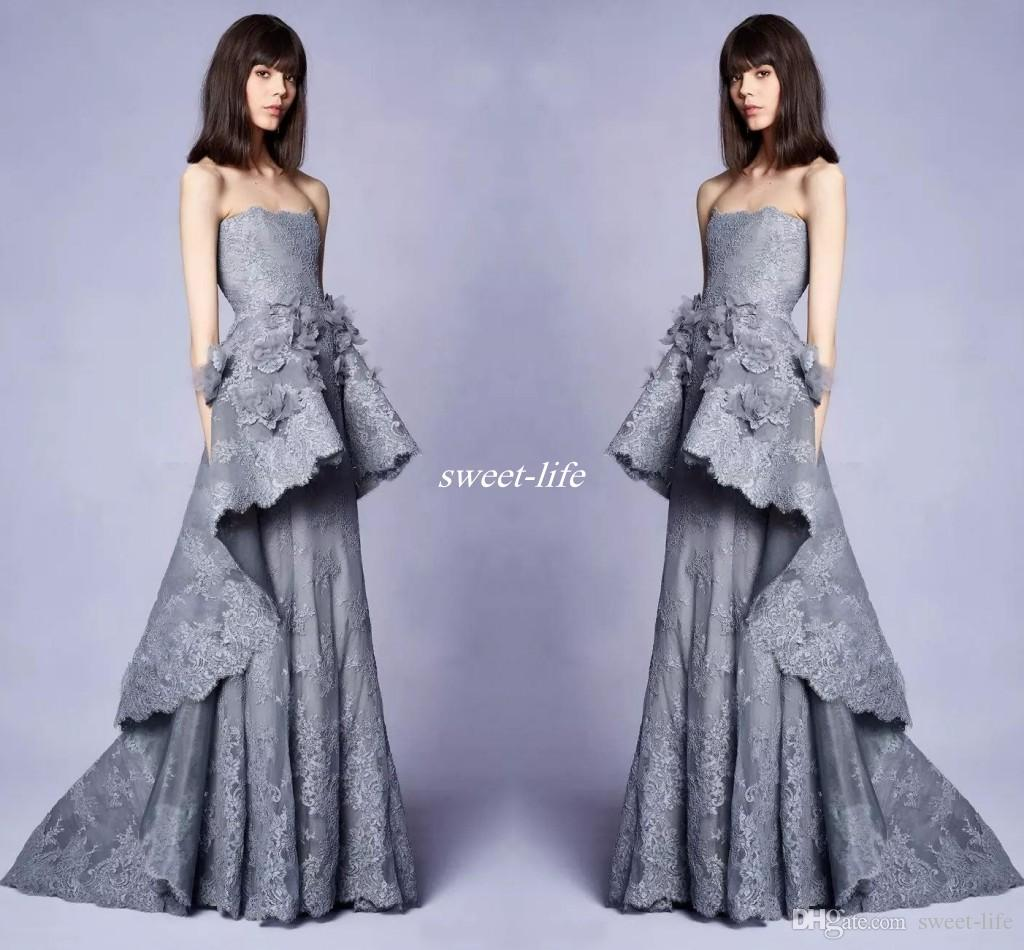 New 2018 Collection Long Grey Lace Evening Gowns With 3d Floral ...