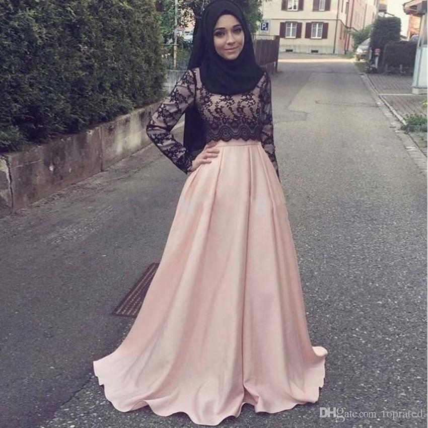 2019 Pink Lace Muslim Mother of the Bride Formal Gowns Plus Size With Long Sleeves Arabic Women Cheap Modest Hijab Evening Dresses