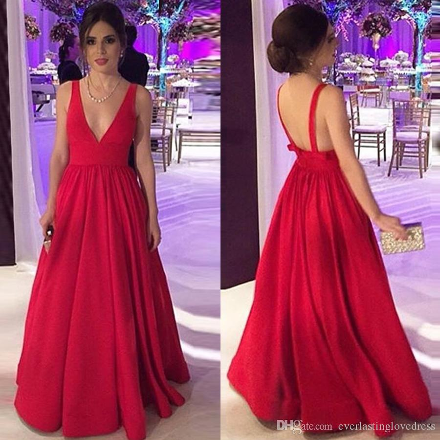 043b90dc48 A Line Deep V Neck Floor Length Backless Red Satin Prom Dress With Bowknot  Evening Dress Simple Style Under 100 Prom Dresses Glasgow Prom Dresses Long  From ...