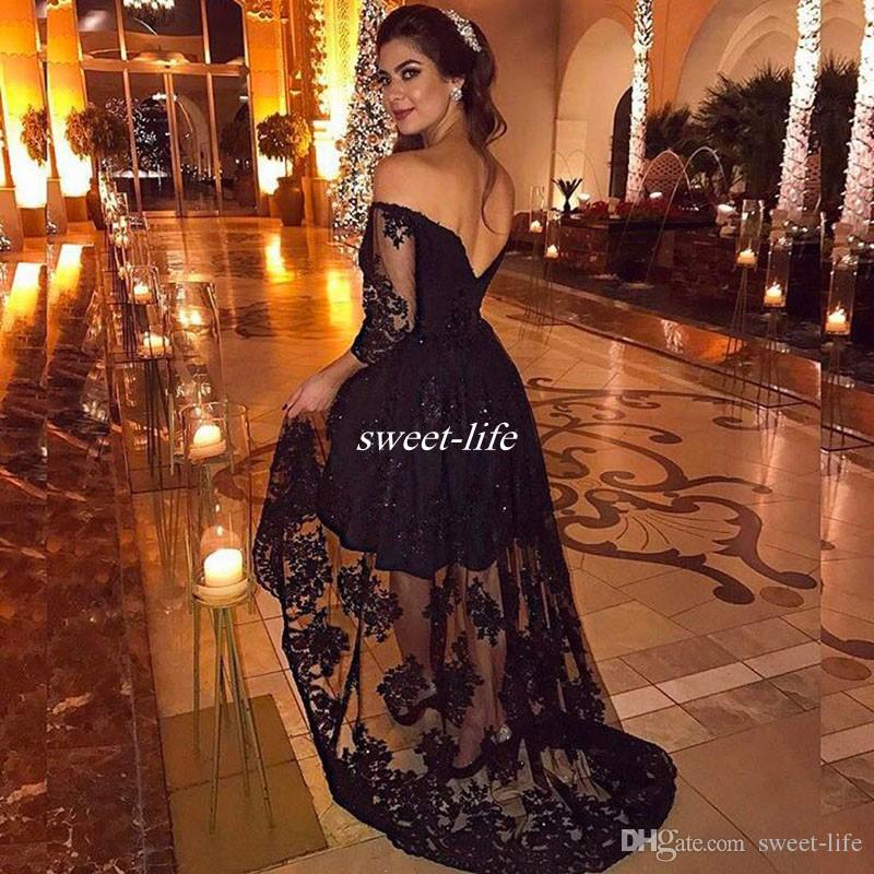 Black Lace Hi Lo Prom Dresses Plus Size Sparkly Sequins Backless 2017 Off Shoulder Homecoming Party Queen Dress Arabic Women Evening Gowns