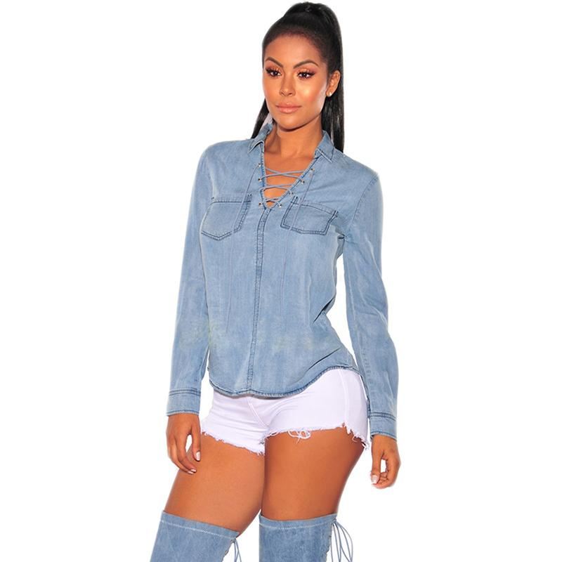 035bca1dae5 Autumn Casual Women T Shirt Sexy V Neck Long Sleeve Lace Up Denim T Shirts  Female Tops Pocket Back Split Blue Jeans Tees T Shirts Sites Shirt Tees  From ...