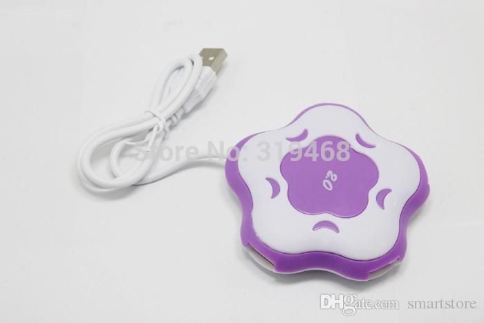 500 pz / lotto RA Flower Shape 4 Porte 4 Port Hub USB 1.1 i Scegliere a Forma di Fiore Cambia Colore LED Light Spedizione Gratuita 0001