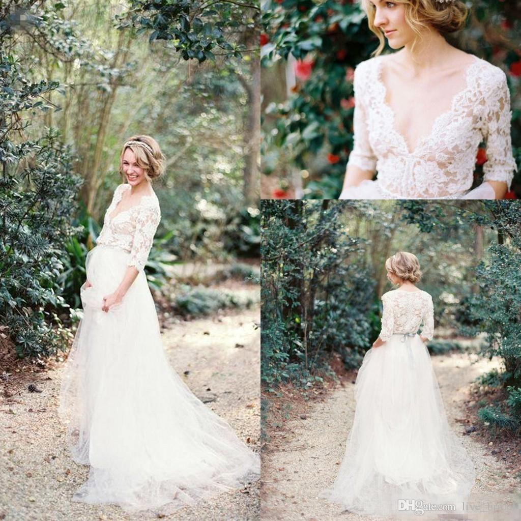 Discount bohemian wedding dress deep v neck lace wedding gowns cheap illusion bodice a line 12 sleeves tulle bridal gowns with sash custom made aline wedding dresses anthropologie wedding dresses from livebridal junglespirit Image collections