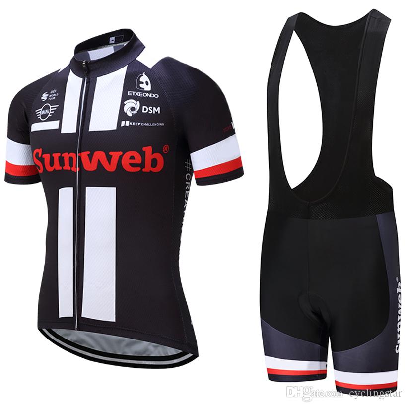 2017 Black Sunweb Team Cycling Jersey Bib Shorts Set MTB Ropa Ciclismo  Quick Dry Mens Summer Cycling Wear BIKE Maillot Culotte G1102 Cycling Short  Bicycle ... bbb90056a